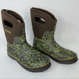 Bogs Classic Mid Fern boots size 7 green brown